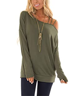 Yieune Womens Cold Shoulder Strap Long Sleeve Off One Shoulder Casual T Shirts Blouses Tops (Grey M)
