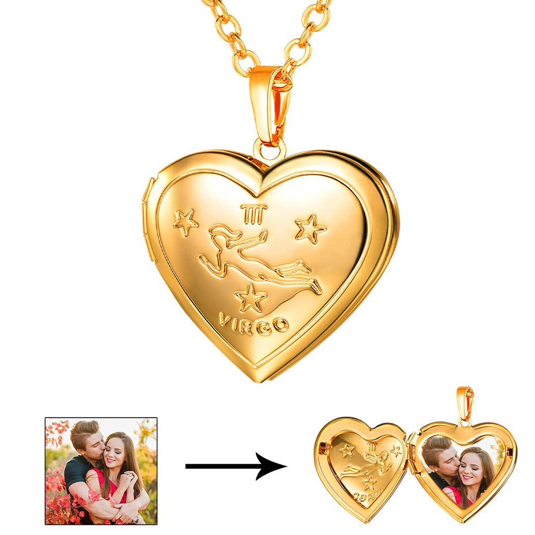 U7 Virgo Zodiac Sign Necklace 18K Gold Plated Heart Photo Locket Pendant, Chain 22''