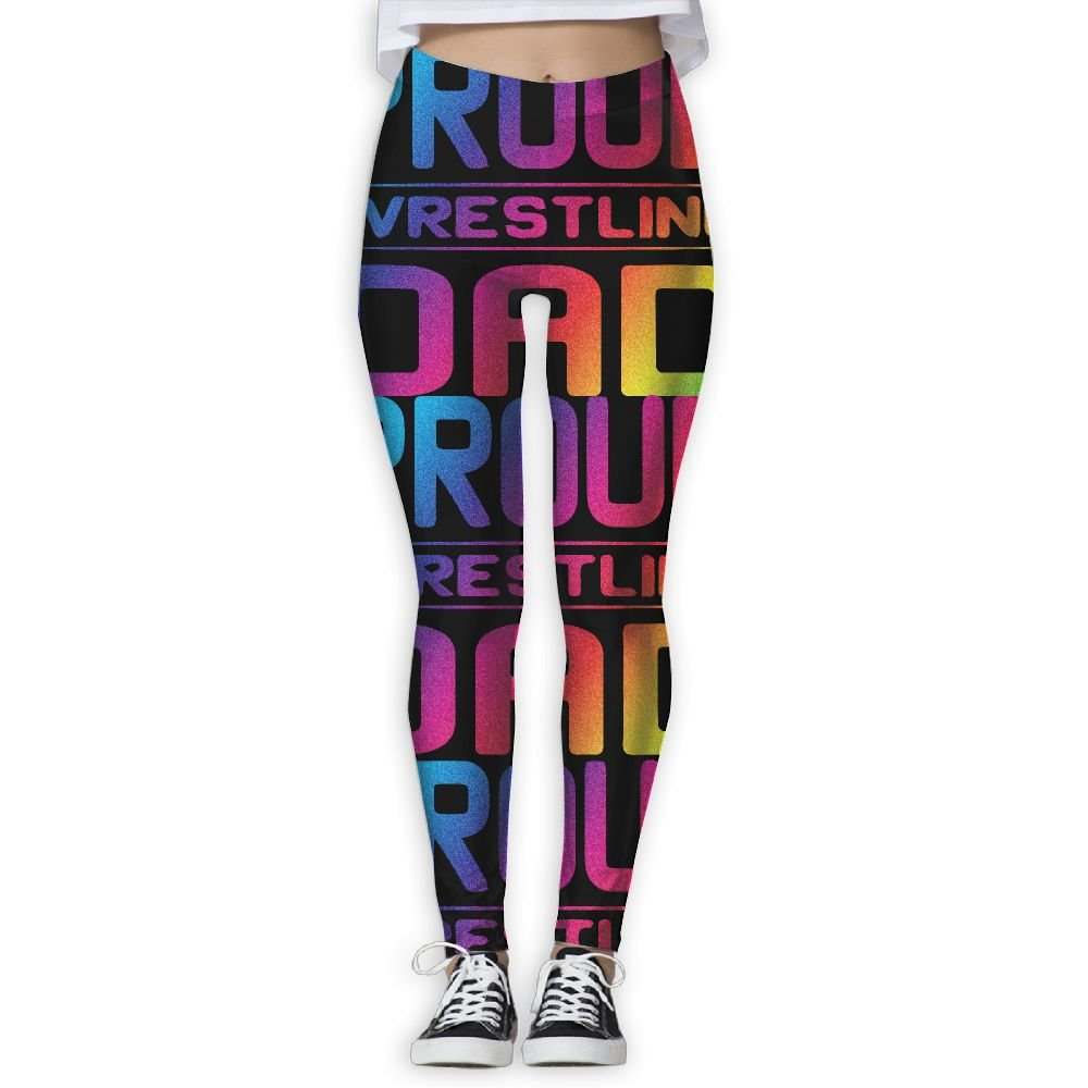 WomensPowerYogaPants Proud Wrestling Dad Ladies Yoga Pants Fitness Power Flex Leggings Digital Printed