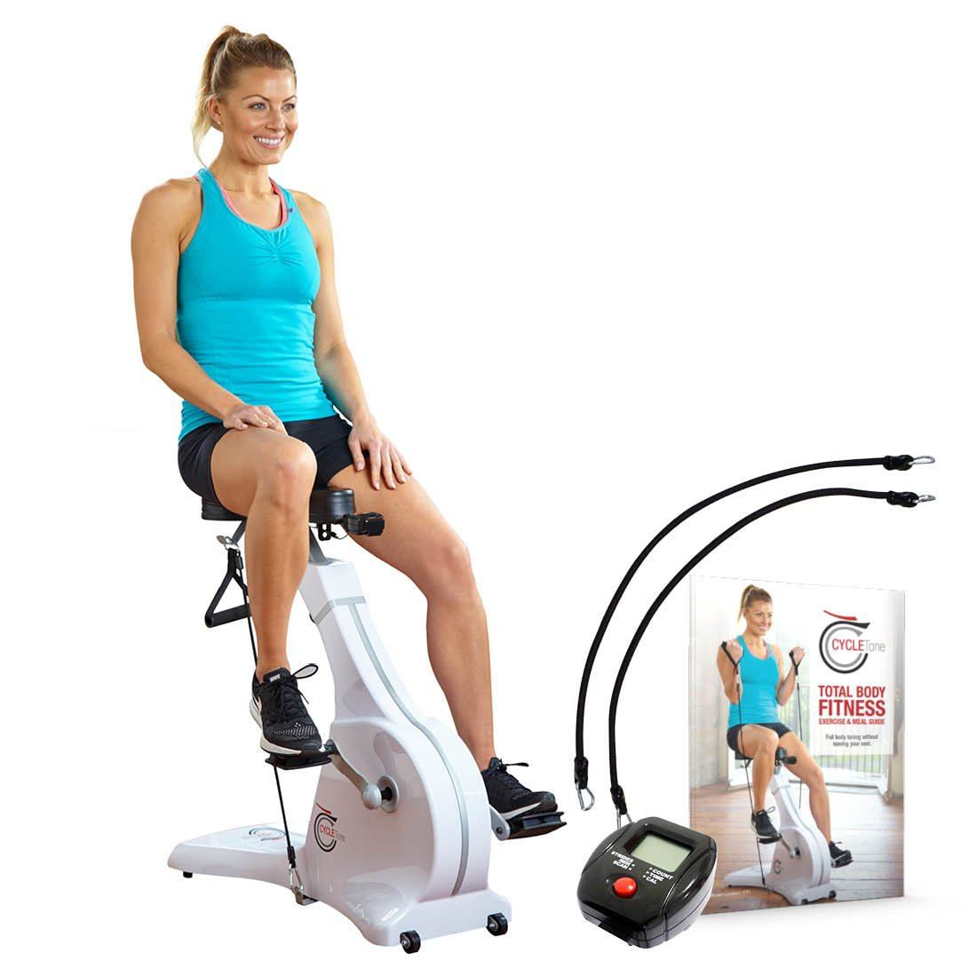 Cycle Tone Exercise Bike with Resistance Bands by New Image BONUS Digital Monitor, Advanced Resistance Bands 8kg (As Seen on High Street TV)
