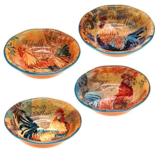 Hand Painted Rooster Design - Certified International Rustic Rooster Soup/Cereal Bowls, 8.75-Inch, Multicolor, Set of 4