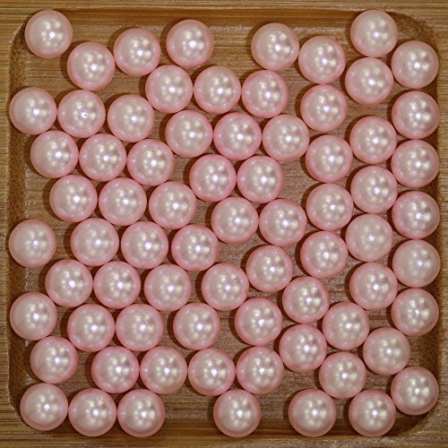 12mm Baby Pink No Hole Round Pearls Imitation Craft Resin Beads DIY 3D Jewelry Accessories Nail Art Decoration ()