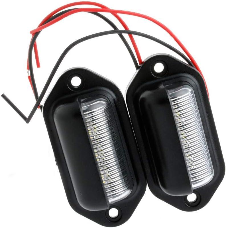 JIACUO 2X 12V 6 LED N/úmero de matr/ícula Etiqueta Interior Paso Luz RV Barco Remolque Cami/ón
