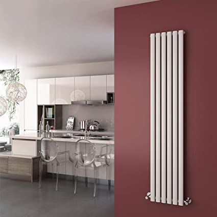 1800 x 360 mm White Vertical Column Designer Radiator Oval Single Panel Modern heater by Sunny