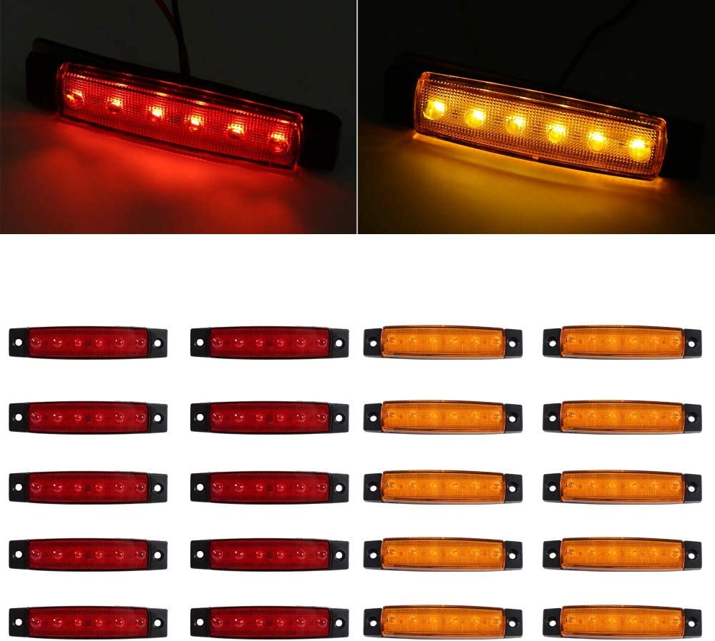 Red Light Cuque 10x 6 LED Trailer Side Marker Light Waterproof and Dustproof Indicator Side Marker Clearance Light Rear Side Marker lamp ABS AS Material Red Amber