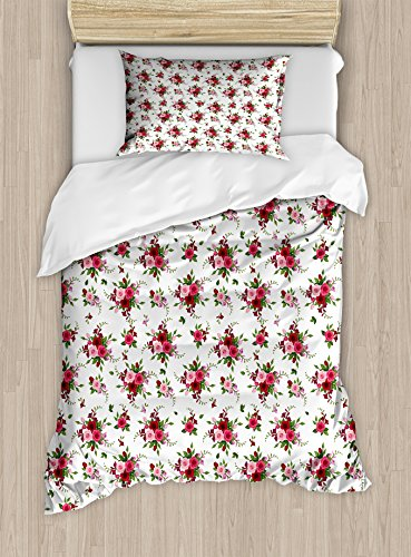 Ambesonne Flowers Duvet Cover Set Twin Size, Bridal Bouquets Pattern with Roses and Freesia Romantic Victorian Composition, Decorative 2 Piece Bedding Set with 1 Pillow Sham, Pink Ruby (Freesia Bouquet)