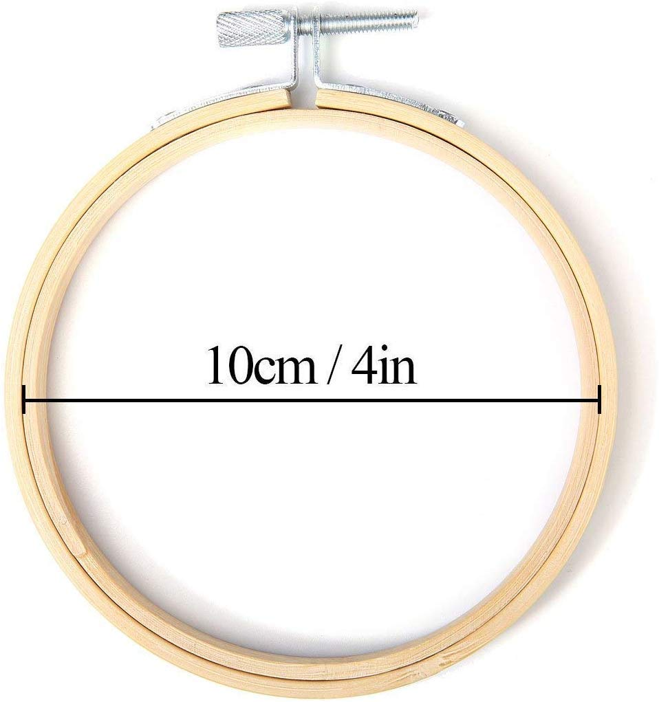 15 Pieces 4 Inch Round Wooden Embroidery Hoops Set Adjustable Bamboo Circle Cross Stitch Hoop Ring for Embroidery and Cross Stitch