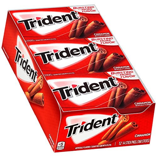 - Trident Cinnamon Sugar Free Gum - with Xylitol - 12 Packs (168 Pieces Total)