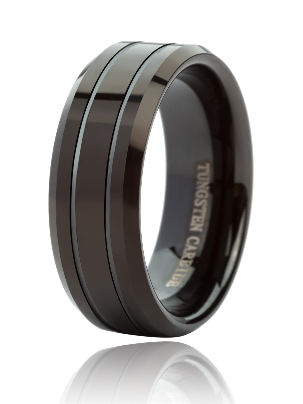 Just Lsy Mens 8mm Black Tungsten Carbide Rings Polished Beveled Edge Double Groove Classic Wedding Bands Comfort Fit Size 11