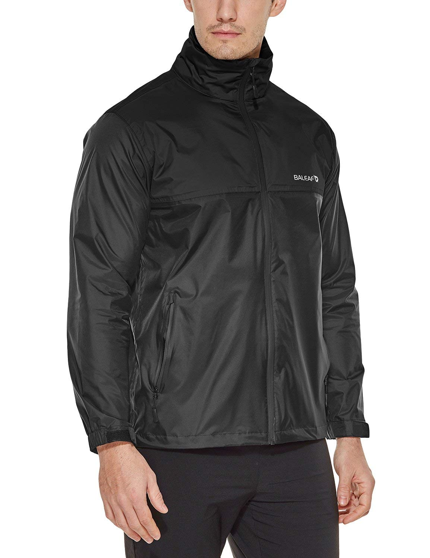 Baleaf Men's Rain Jacket Waterproof Front-Zip Raincoats Hideaway Hood Black XXL by Baleaf