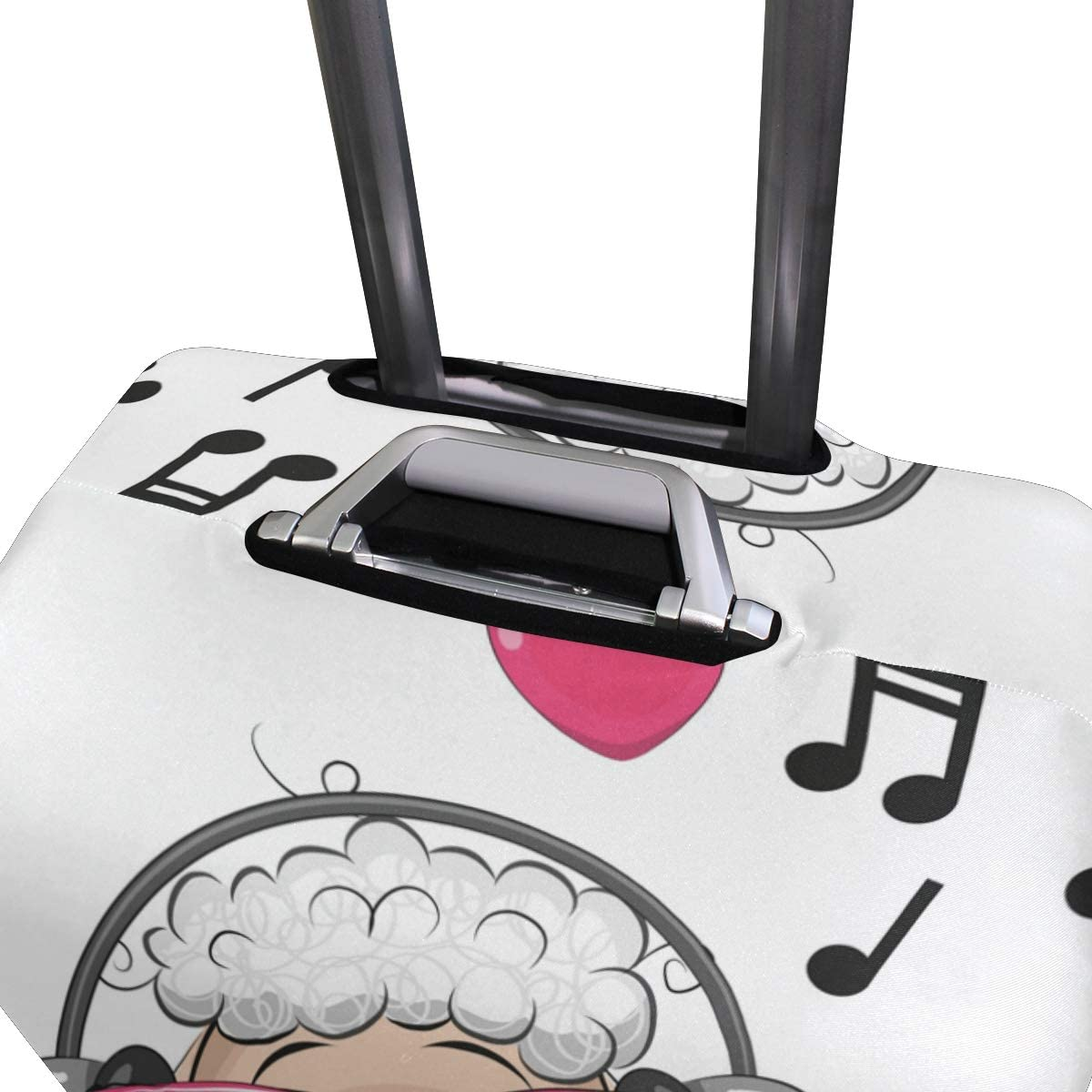 FOLPPLY Cute Cartoon Sheep Listen Music Notes Luggage Cover Baggage Suitcase Travel Protector Fit for 18-32 Inch