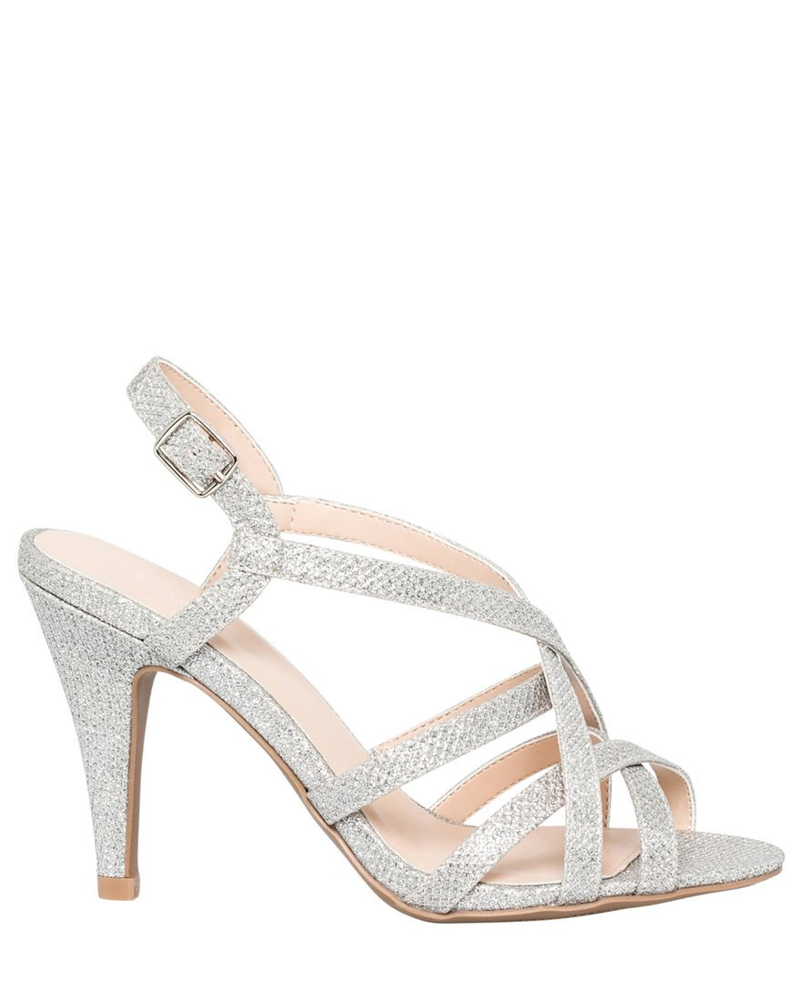 LE CHÂTEAU Women's Strappy Glitter Sandal,8,Silver