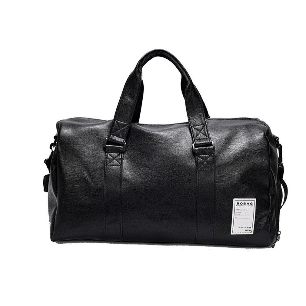 Women Men PU Leather Sport Gym Bag Travel Duffle Bags Waterproof Handbag Fitness Shoulder Bag Sport Black Color