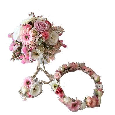 a2dc2bdcc3c53 Amazon.co.jp: 花職人の店 いるでぱいん ウェディングブーケ 花冠 ...