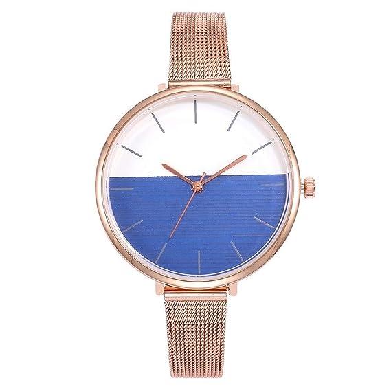 ZXMBIAO Reloj De Pulsera Moda Mujer Oro Rosa Correa De Malla Relojes Casual Ladies Acero Cuarzo Relojes, Azul: Amazon.es: Relojes