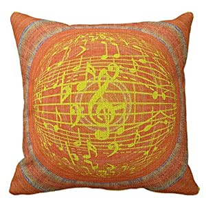 Decorative Pillow Cover Model : Amazon.com: Musical Theme Clef And Notes Orange Design Throw Pillows Custom Throw Pillow Case ...