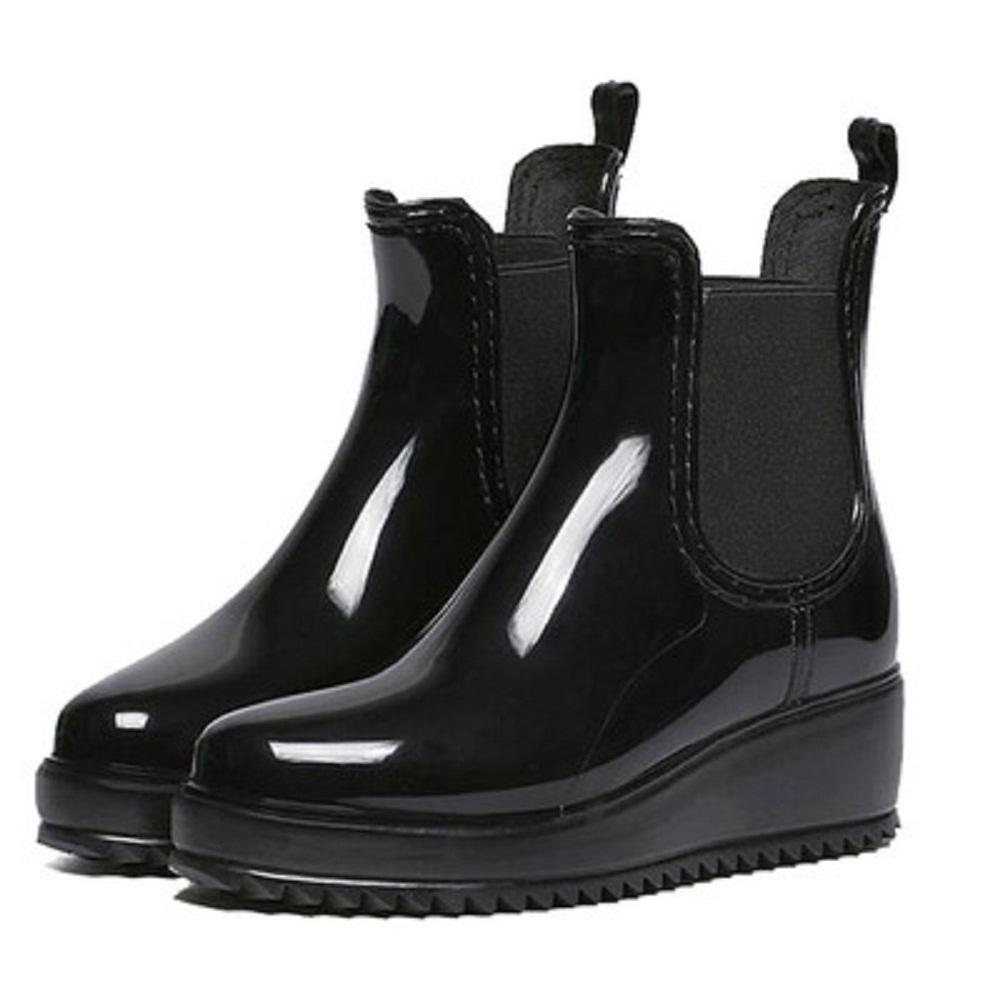Autunno e inverno Moda Lady Anti-scivolo Impermeabile Stivali da pioggia , 38 , brown black