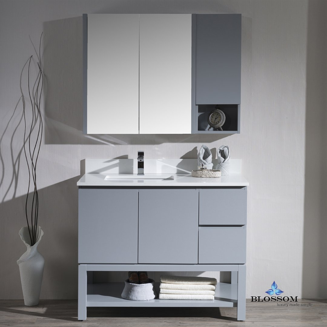 BLOSSOM 000-42-15-L-MC Monaco 42'' Left Vanity Set with Medicine Cabinet and Wall Cabinet Metal Gray