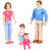 You & Me, Happy Family, Family Action Figure Set (Dad, Mom, Daughter, and Baby) Brown Hair