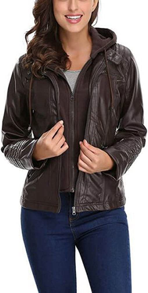 Seamido Womens Faux Leather Jacket Removable Hoooded Leather Jackets for Women