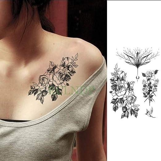 tzxdbh Etiqueta engomada del Tatuaje Temporal Impermeable Flor de ...