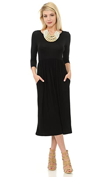 ccbfaba65660a iconic luxe Women's Solid Fit and Flare Midi Dress with Pockets Small Black