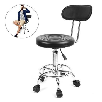 Taburete, taburete giratorio de altura regulable en altura con ruedas, peluquería ajustable salón de peluquería, silla, peluquería, masaje, belleza, ...