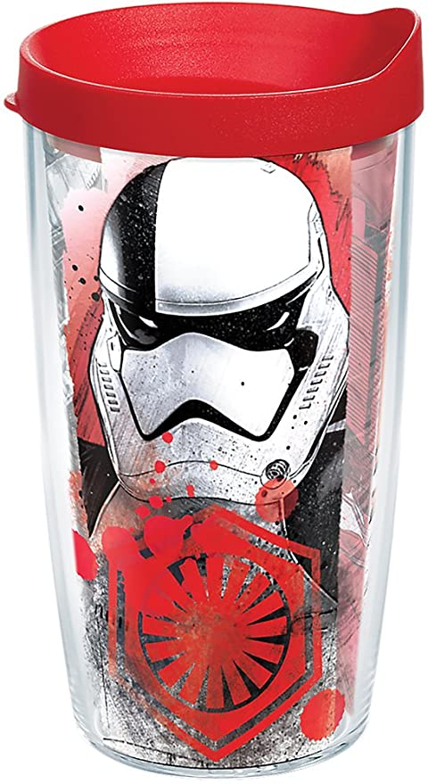 6b69581e97c Amazon.com: Tervis 1282107 Star Wars - Last Jedi Trooper Tumbler with Wrap  and Red Lid 16oz, Clear: Kitchen & Dining