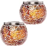 GreenLighting 2 Pack Mosaic Solar Light - Decorative LED Outdoor Garden Table Ball Light by (Honey Brown)