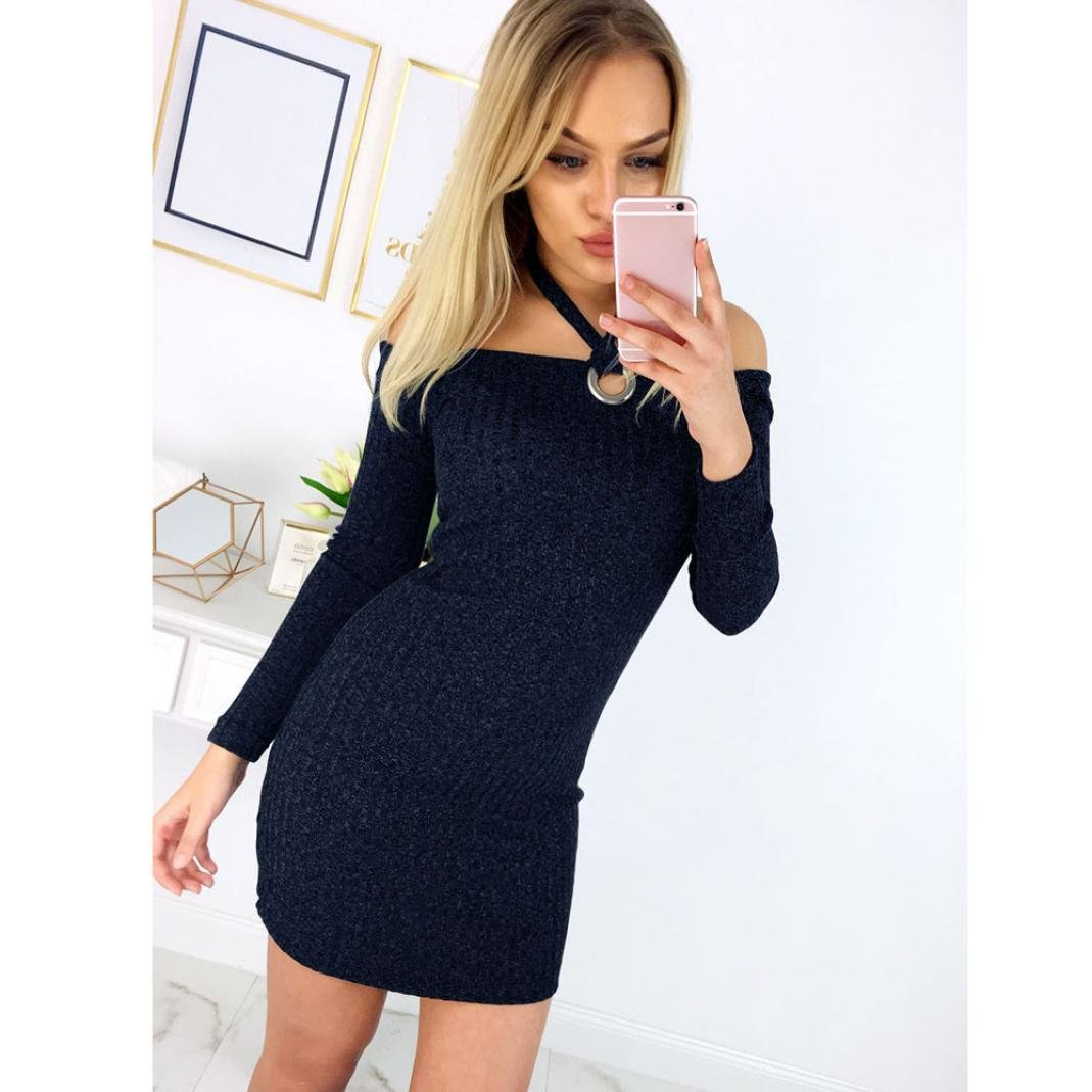 0a375aae9994 Bodycon Kleid Damen, Sunday Womens Solid Langarm Hang Neck ...