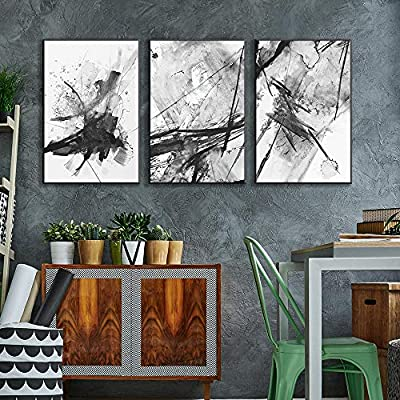Framed Canvas Wall Art for Living Room, Bedroom Abstract Ink Painting Canvas Prints for Home Decoration Ready to Hanging - 16