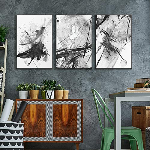 Framed for Living Room Bedroom Abstract Ink Painting for x3 Panels
