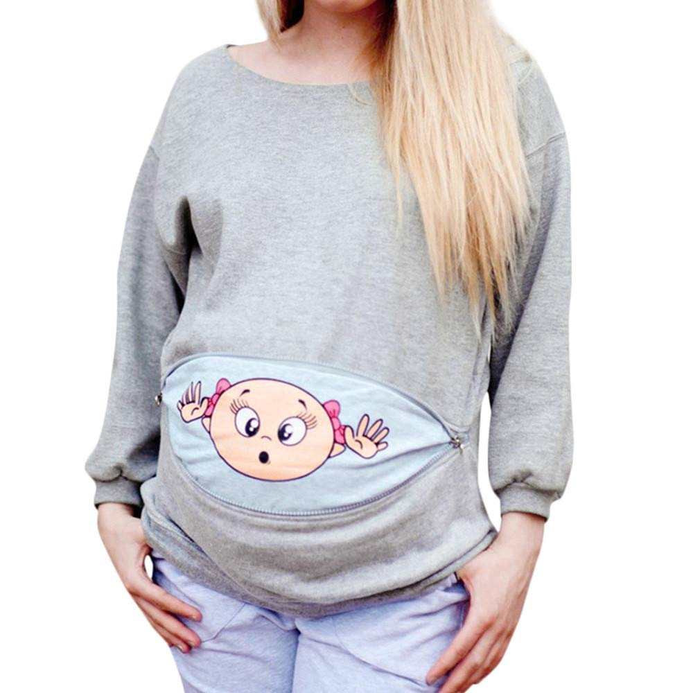 8658d7644f2 Cute Maternity Clothes Women Maternity Baby Peeking T Shirt Funny Pregnancy  Tee Expecting Mothers Tops at Amazon Women s Clothing store