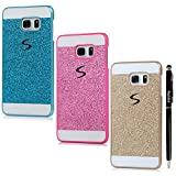 S6 Edge Plus Case, Samsung Galaxy S6 Edge Plus Case - Badalink Glitter Bling Diamonds Logo Cut Out Design Sparkle Skin Scratch Resistant PC Cover 3 Color Cases with Stylus Pen - Golden+Blue+Hot Pink