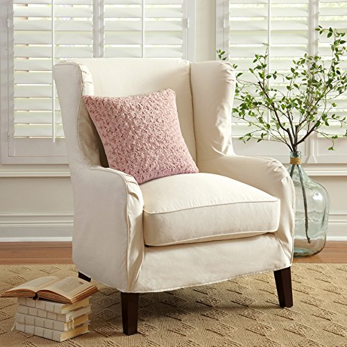- De Moocci Decorative Super Soft Plush-Roses Faux Fur Pillow 18x18 inch - BEST QUALITY Fuzzy Accent Pillow - Cushion and Cover - Pink