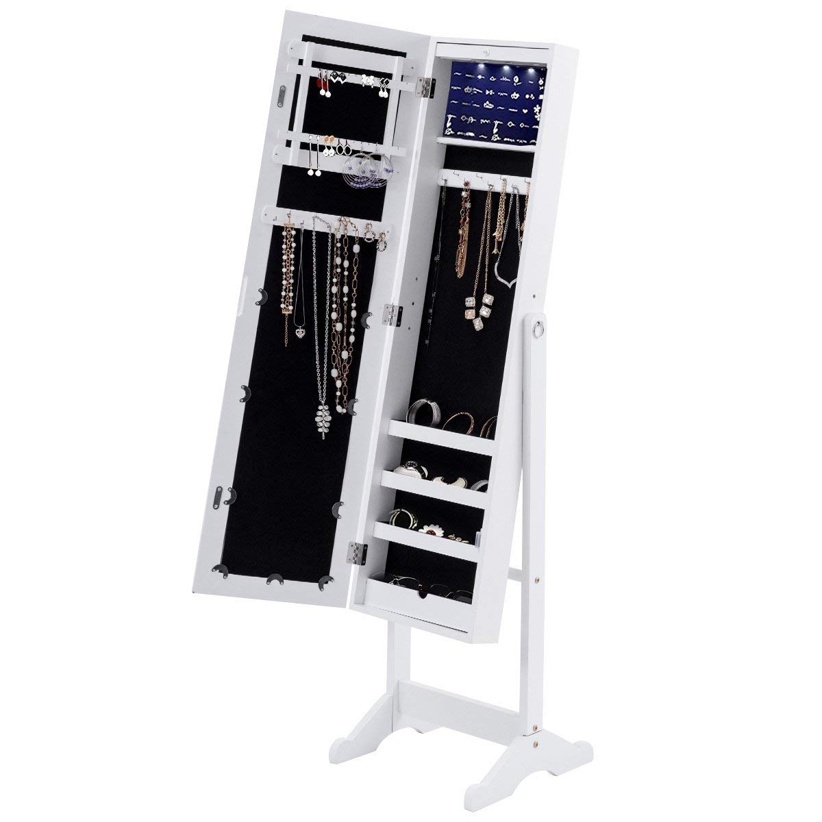 Giantex Mirrored Jewelry Armoire Cabinet with Mirror Door Free-Standing Necklace Stand Jewelry Organizer Stroage Cabinet with 13 LED Lights, White