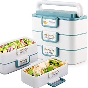 Ljyutihgfh Portable Stackable Lunch Box Reusable, Stainless Steel Food Carrier Container, Bento Box Container for School Office Picnics Outdoors enjoy a hot lunch on the go.