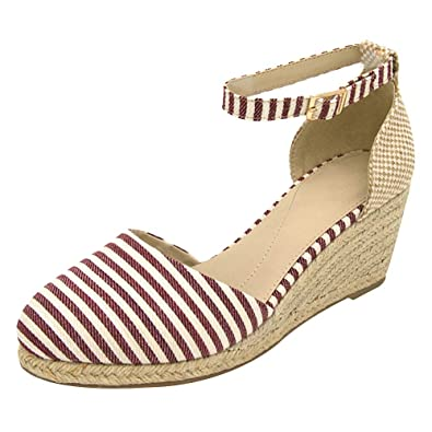23ac97a06b8 rismart Ladies Women s Wedges Summer Ankle Straps Espadrilles Sandals Shoes  SN02837(Strip red