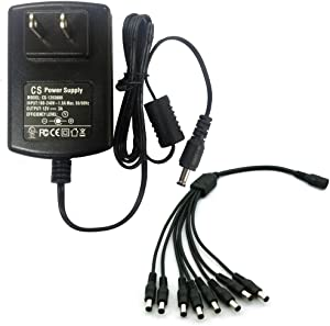 AC 100-240V to DC 12V 3A Power Supply Adapter with 8 Way Splitter Cable for CCTV Security Camera DVR NVR Led UL Listed FCC