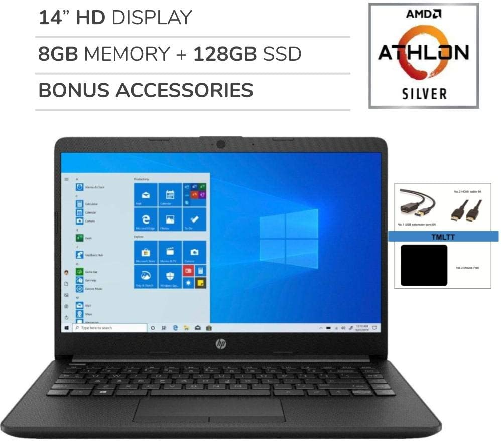 "HP 2020 Premium 14"" HD Laptop, 2 Core AMD Athlon Silver 3050U 2.3GHz, 8GB RAM,128GB SSD, AMD Radeon, No DVD, Wi-Fi, Bluetooth, Webcam, HDMI, Windows 10 S, Bonus Accessories"