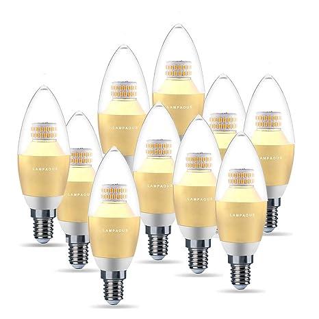 Lampaous Bombillas LED Vela casquillo fino E14,5W C37 bombillas led vela luz calida 2700K
