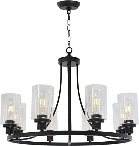 MELUCEE Black Chandelier 8 Light
