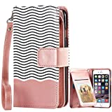 iPhone 6 Case, iPhone 6s Case, BENTOBEN Premium PU Leather [9 Card Slots] Magnetic Hybrid Flip Wallet Case Purse Case Cover with Wristlet for iPhone 6/iPhone 6s [4.7inch][Patented Pattern], Rose Gold