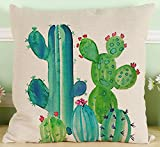 Fresh Hand-painted Watercolor Tropical Rainforest Plants Cactus Echinopsis Tubiflora Cotton Linen Decorative Throw Pillow Case Cushion Cover Square 18 X 18 Inches