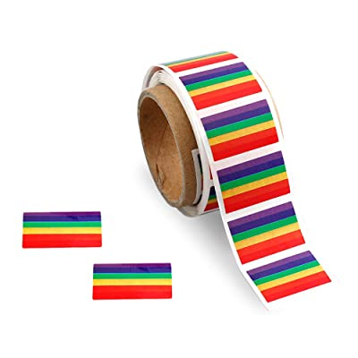 LGBTQ - Small Rectangle Rainbow Stripe Stickers (1 Roll - 250 Stickers)