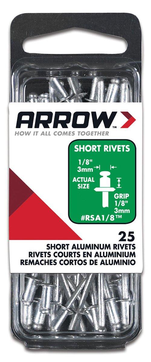 25-Pack Arrow Fastener RSA1//8 Short Aluminum 1//8-Inch Rivets