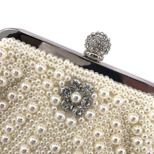 Women Clasp Rhinestone Pearl Handmade Beige Handbag Evening Clutch rqCrw41z