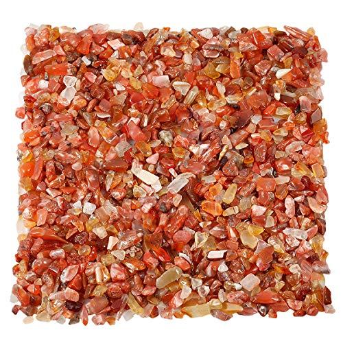 TUMBEELLUWA 1LB Chips Tumbled Stones Crushed Reiki Irregular Shaped Healing Crystal Quartz Decoration,Carnelian ()