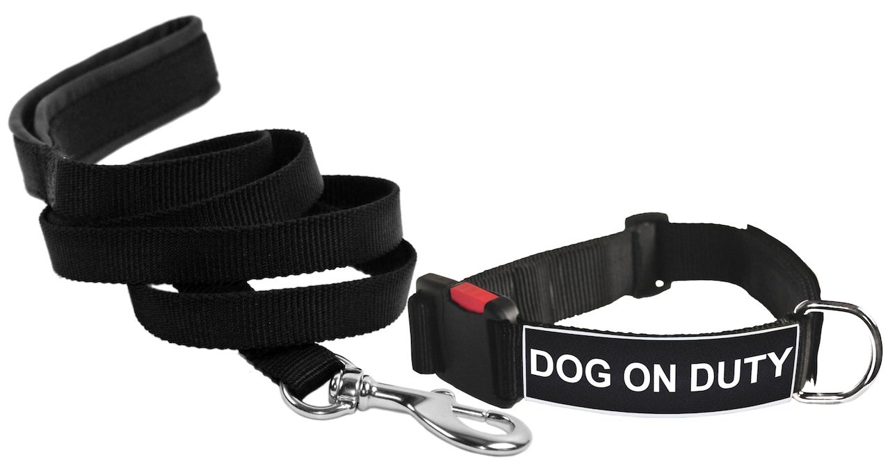 Dean & Tyler Dog On Duty Patch Small Dog Collar with 6-Feet Padded Puppy Leash, Black