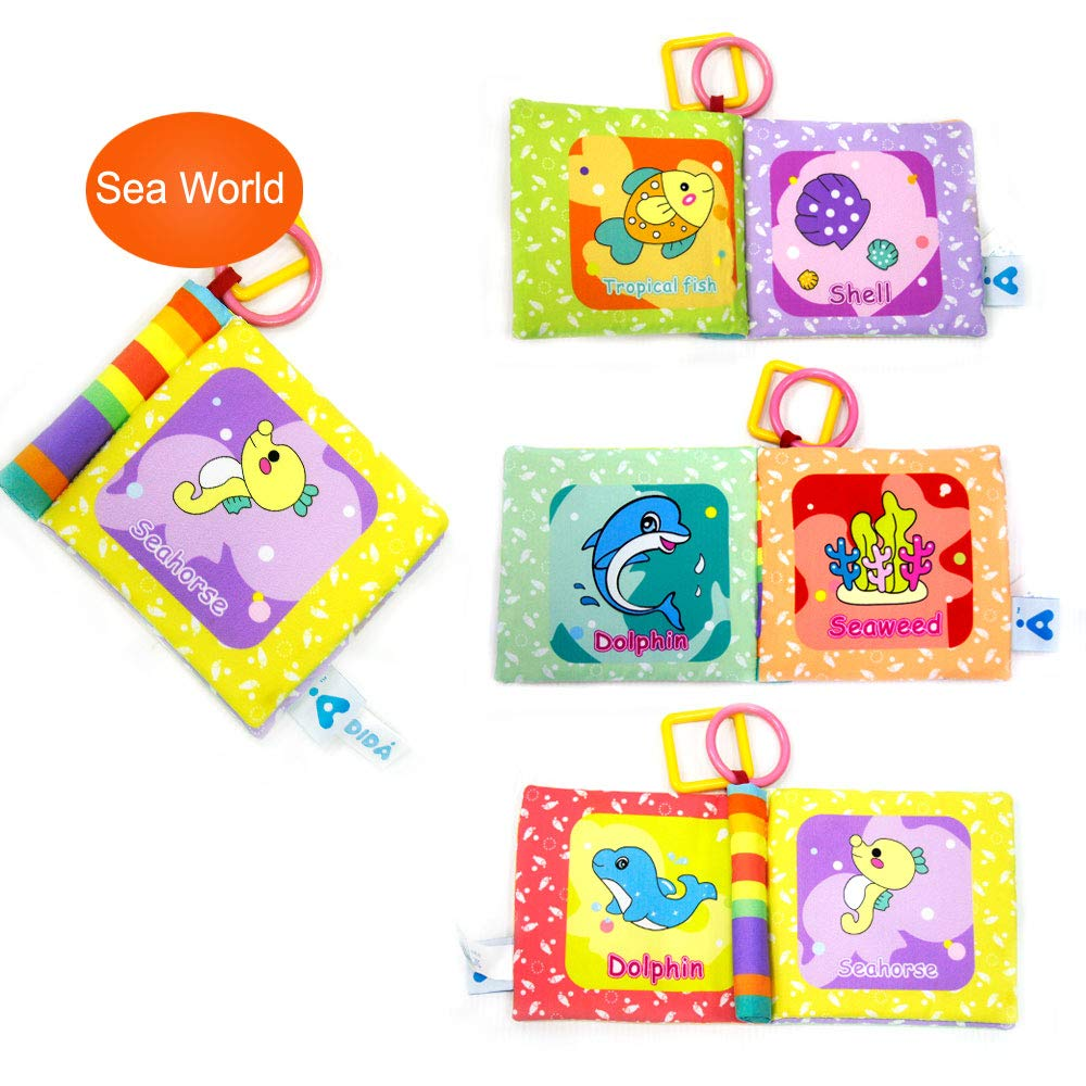 A LADIDA 4 Style Baby Toys Soft Cloth Books Rustle Sound Early Education Toys Newborn Activity Book for Boy and Girl 3-24 Month